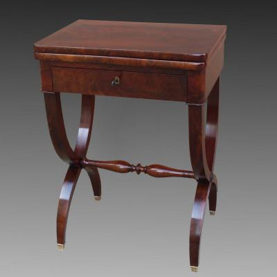 Antique Restoration Period Small Game Table Console In Mahogany - 19th Century