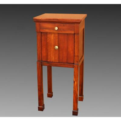 Antique Empire Bedside Table Cabinet In Walnut - Italy 19th Century