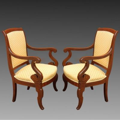 Antique Pair Of Charles X Armchairs In Mahogany Inlaid - 19th Century