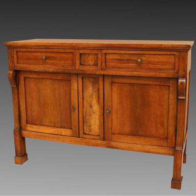 Antique Empire Sideboard Dresser Cabinet Cupboard Buffet In Walnut - Italy 19th