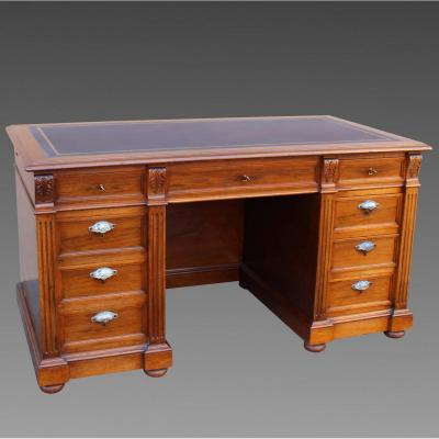 Antique Bureau Table Writing Desk In Walnut - 19th Century