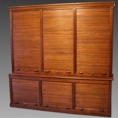 Antique Binder Rolling Curtain Filing Cabinet In Mahogany – Early 20th