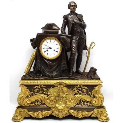 Ancien Horloge Pendule d'époque Louis Philippe en bronze doré (H.71) - 19ème