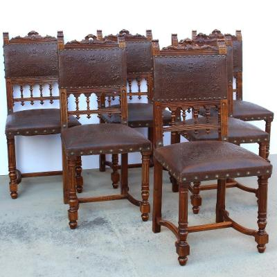 Antique Set Of 6 Chairs In Walnut – 19th