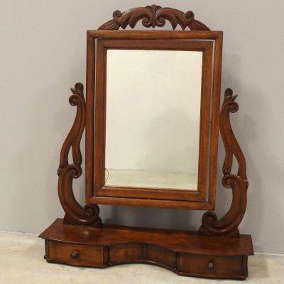 Ancien Miroir d'époque Louis Philippe en Noyer - Italie 19ème