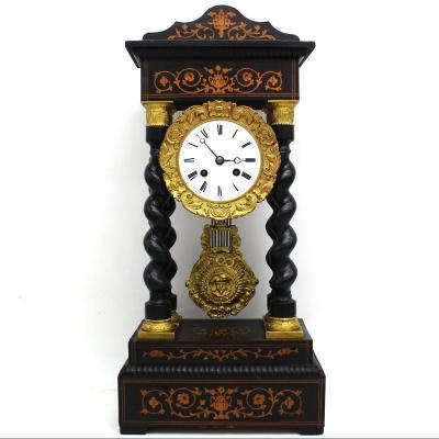 Ancien Horloge Pendule Portique d'époque Napoleon III en marqueterie - 19ème