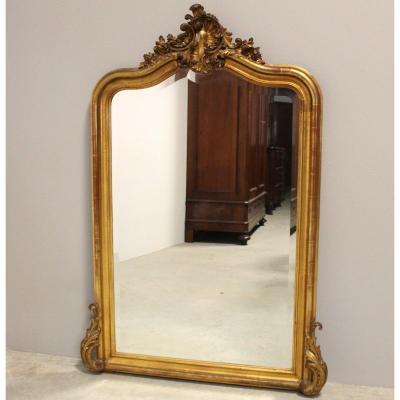 Ancien Miroir doré d'époque Louis Philippe - 19ème