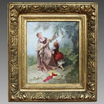 Ancien Tableau huile sur toile signé avec Cadre doré - 19ème
