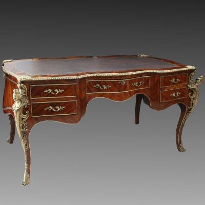 Ancien grand Bureau plat d'époque Napoleon III - 19ème