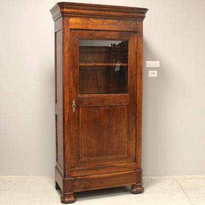 Antique Louis Philippe Showcase Dresser Cabinet Cupboard In Walnut - 19th