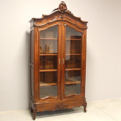 Antique Showcase Bookcase Dresser Cupboard Cabinet In Walnut - 19th
