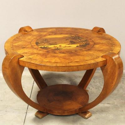 Antique Coffee Table Inlaid - Early 20th