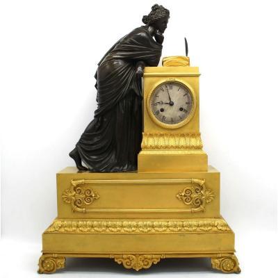 Antique Empire Pendulum Mantel Clock Ormolu In Bronze (h.61) - 19th