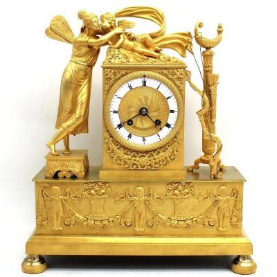 Antique Empire Pendulum Mantel Clock Ormolu In Bronze - 19th