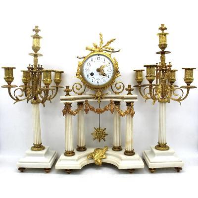 Antique Napoleon III Pendulum Mantel Clock Ormolu With Candlesticks In Bronze And Marble 19th