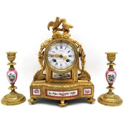 Antique Napoleon III Pendulum Mantel Clock Ormolu With Candlesticks In Bronze Porcelain 19th