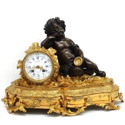 Antique Napoleon III Pendulum Mantel Clock Ormolu In Bronze - 19th