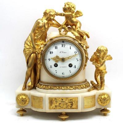 Antique Napoleone III Pendulum Mantel Clock Ormolu In Bronze And Marble - 19th