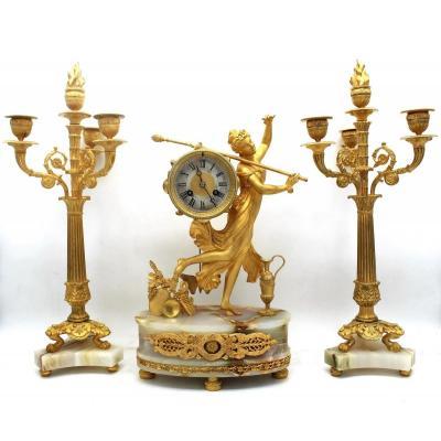 Antique Restoration Pendulum Mantel Clock Ormolu With Candlesticks In Bronze And Onyx - 19th