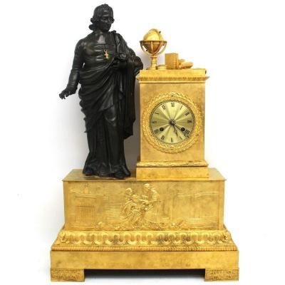 Antique Empire Pendulum Mantel Clock Ormolu In Bronze (h.53) - 19th