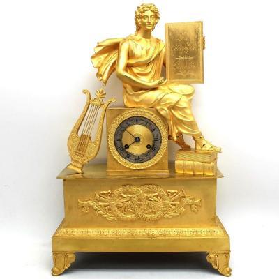 Antique Empire Pendulum Mantel Clock Ormolu In Bronze (h.50) - 19th
