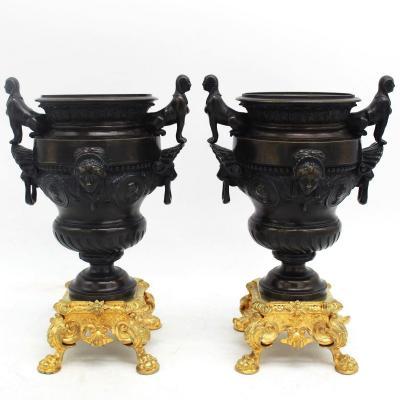 Antique Pair Of Napoleon III Cassolette Vases Cups  In Bronze - 19th