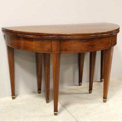 Antique Directoire Half-moon Console Extendable Table In Walnut - 19th