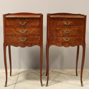 Antique Pair Of Napoleon III Bedsides Tables In Marquetry - Early 20th