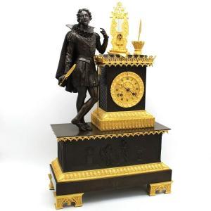 Antique Empire Gothic Pendulum Mantel Clock Ormolu In Bronze (h.61) - 19th