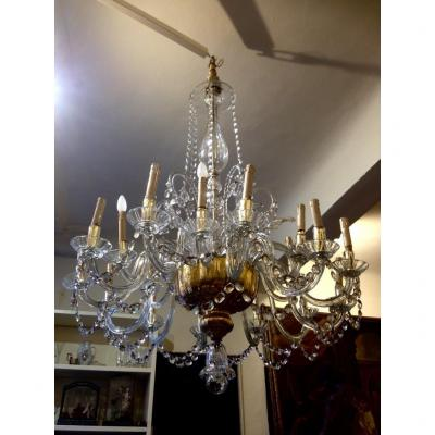 18 Lights Glass Chandelier, Louis XV Florence.