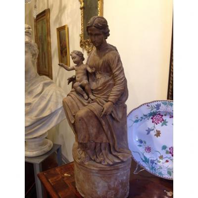 Madona With Child In Terra Cotta Seventeenth Century
