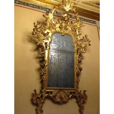 18th Century Carved And Gilded Mirror Louis XIV, Tuscany.