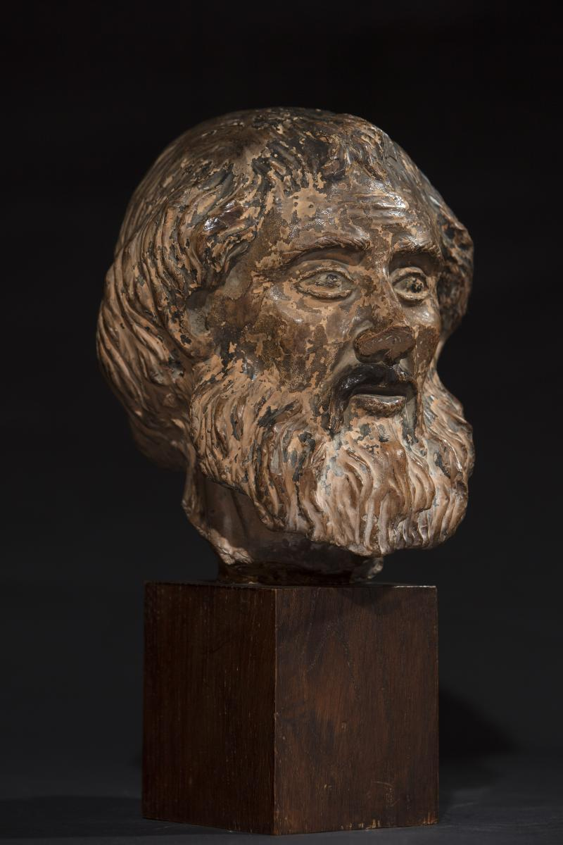 Virile Head Terracotta, With Wooden Pedestal, Nineteenth Century