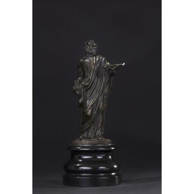 Saint-pierre En Bronze, XVIIe Siècle, Socle En Marbre Noir