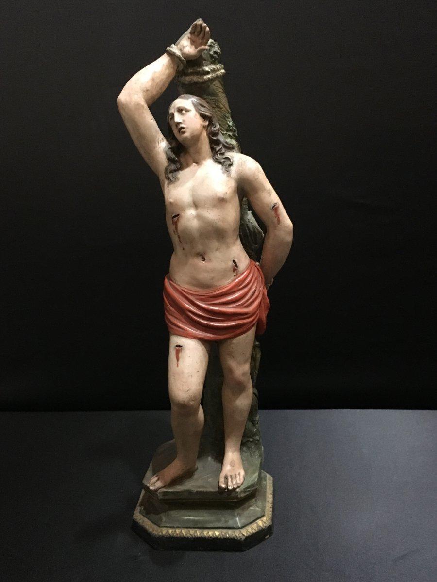 Sculpture Polychrome Terre cuite  De San Sebastiano - XIX Siècle