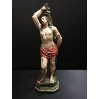 Polychrome Terracotta Sculpture From San Sebastiano - XIX Century