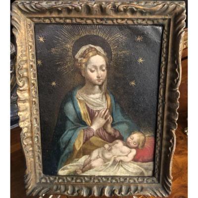 Vierge à l'Enfant Peinte Sur Cuivre - XVIIIe SIECLE