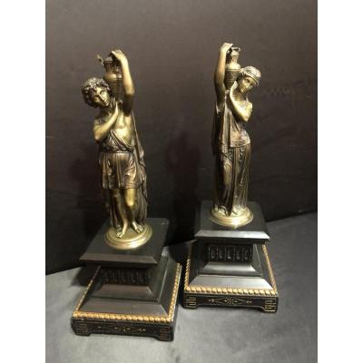 Pair Of Bronze And Marble Statues