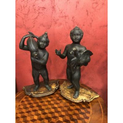 Pair Of Children In Bronze