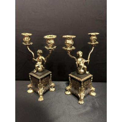 Paire De Chandeliers  En Bronze Doré Style Boulle