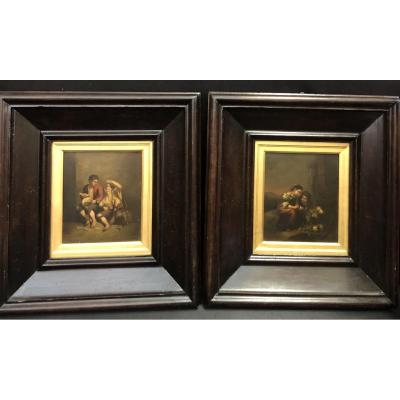 """Pair of lovely oil paintings on copper depicting """"Young fruit seller"""" and """"Guys eating fruits"""" dating from the first half of the 19th century, inspired by paintings by Bartolomé Esteban Murillo (1618-1682). cm. 56x52 with frame - cm. 25,5x22 without frame For more information on the state of conservation, we invite our customers to contact us by phone or ask us for other photos. A certificate of historical authenticity will be issued."""