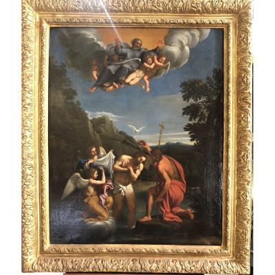"""Peinture à l'huile sur toile """"Baptême de Jésus"""" fin 18ème siècle"""