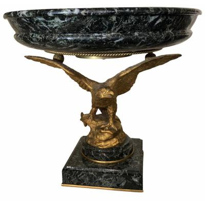 Cup - Centerpiece In Green Alpi Marble And Eagle In Gilt Bronze With Mercury.