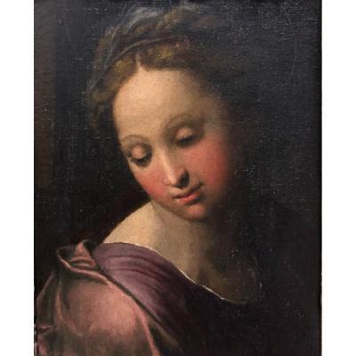 """Peinture de la """" Femme Noble """" sur table de la fin du XVIe siècle."""