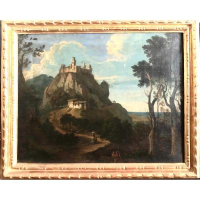 Landscape Representing The Castle And The Travelers. XVIII Century