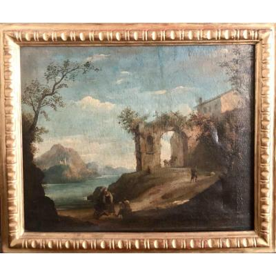 Oil Painting On Canvas Representing A Landscape With Ruins And Characters - End D