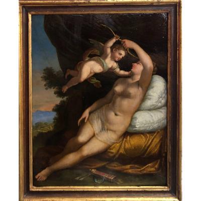 Vénus Et Cupidon - Huile Sur Tablette XVIIIe Siècle