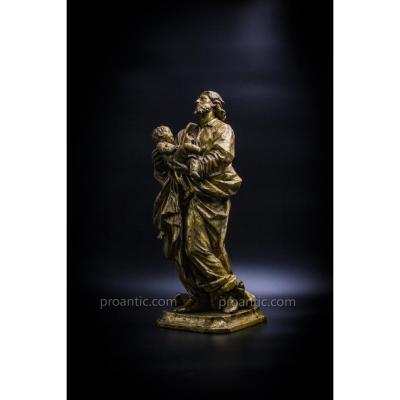 San Giuseppe Con Il Bambino - sculpture en bois doré