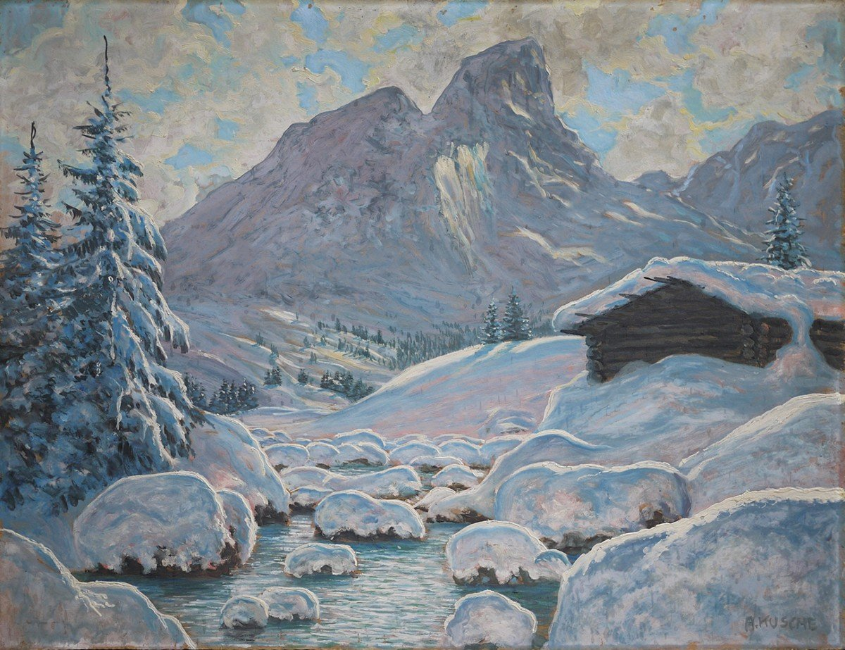 Hiver Au Tyrol, Paysage Enneigé - Alfred Kusche-photo-4