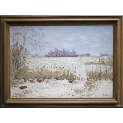 Peinture à l'Huile Faisans Dans La Neige